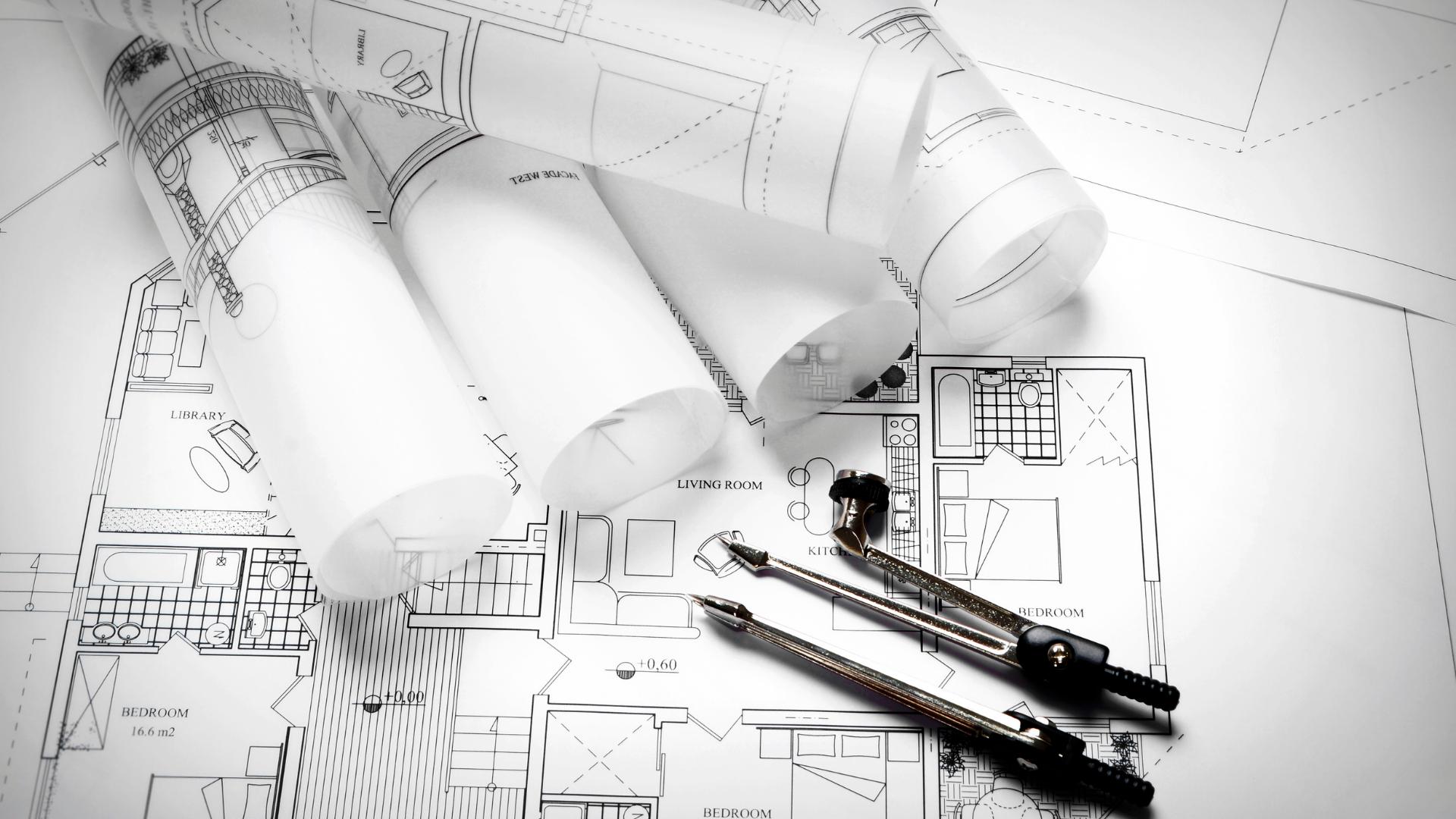 Pläne einer Bauplanung